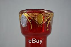 Magnifique Ancien Grand Vase Emaille Legras Decor Chardon