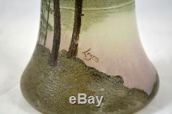 Magnifique Ancien Vase Degage A L'acide Legras Decor Sapin