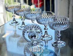 Magnifique Ancienne 6 Coupes Verres A Champagne En Cristal Taille Boheme