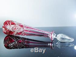 Magnifique Ancienne Carafe En Cristal Double Taille Modelé Lagny Baccarat