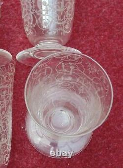 Magnifique ancien 6 verres cristal de baccarat décors MICHELANGELO N°5 très bon