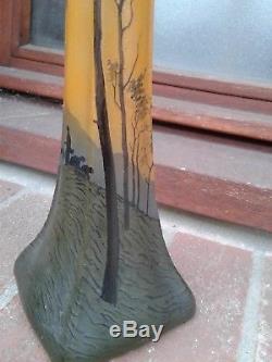 Magnifique ancien grand vase signé LEGRAS gravé à l'acide