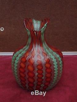 Magnifique ancien pichet Vase pâte de verre Fratelli Toso Murano tres bon etat