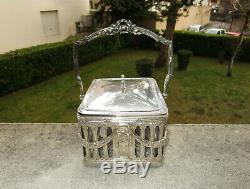 Magnifique ancien seau à biscuits cristal et métal argenté Victor Saglier XIXe
