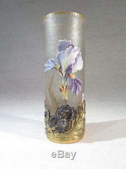 Montjoye Ancien Superbe Vase A Monture Dore Argente Emaille Art Nouveau Iris