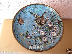 N°1 ancienne coupelle, émaux Cloisonné, décors oiseau