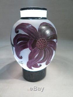Nancea Ancien Vase Pate De Verre Travaille A L'acide Luminaire Decor Fleurs
