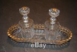 Necessaire De Toilette Cristal De St Louis Ancien Modele Lauriers Dorure Or