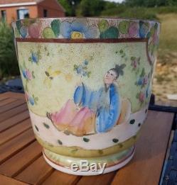 No vase ancien cache pot opaline décor au chinois dlg bayeux napoleon baccarat