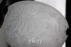 Noverdy Suspension Verre Dégagé Acide Art Deco Nouveau Lustre Ancien Pate Vasque