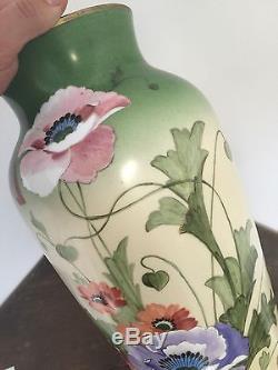 Opaline Blanche Peinte Vase Jugendstil Ancien Art Nouveau Fleur French Émaillé