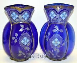 PAIRE de VASES ANCIENS VERRE bleu de FOUR POLYLOBES & décor émaillé émail épais