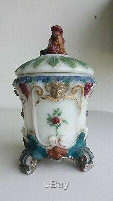 PORTIEUX Ancien POT a TABAC Turc Circa 1900 OPALINE Polychrome Dore Signe Art