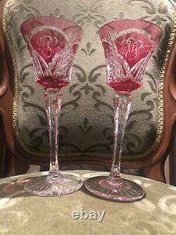 Paire Ancien verre Cristal saint louis couleur Monogramme