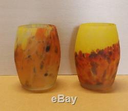 Paire Anciens Vases Pate De Verre Muller Freres Luneville