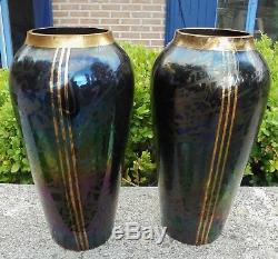 Paire Anciens Vases Verre Irise Loetz Kralik Art Glass Autriche Dn449