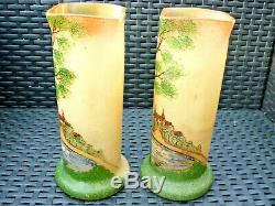 Paire De Vase Ancien Verre Souffle Legras Emailles Decors Chteau Cygnes Arbres