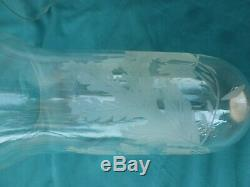Paire d'ancien photophore en cristal gravé (baccarat ST Louis autres)