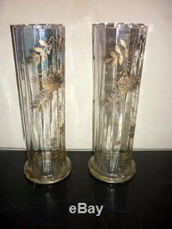 Paire de vase Verre Émaillé Legras Ancien Fleur Enamel Glass Art Nouveau XIX