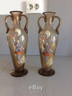 Paire de vase Verre Émaillé Legras Ancien Jeanne D Arc Art Nouveau XIX