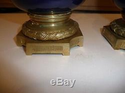 Paire de vase ancien 19 siecle en verre emaille monture bronze