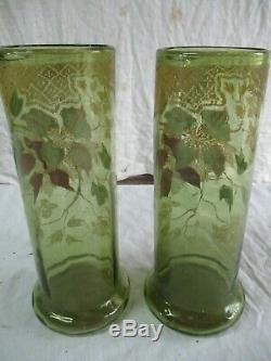 Paire de vase émaillé fleuri ancien de cheminée. 19éme