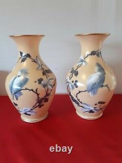 Paire de vase en opaline décor perroquets peint main ancien
