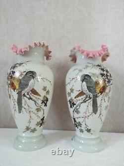 Paire de vases opaline émaillée peint ancien Enamel Glass Oiseaux Napoléon III