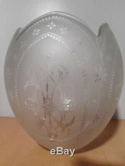 Paire lampe pétrole ancienne 19 siècle modérateur tube globe verre cristal gravé