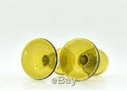 Paire photophores anciens piédouche verre soufflé blown glass candle holder