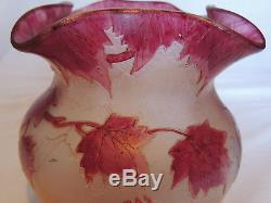 Pate de verre ancienne LEGRAS dégagée à l'acide feuilles de vigne col gauffré