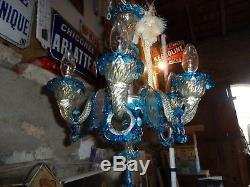 Petit lustre murano venise-ancien verre couleur bleue