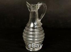 Pichet à huile ancien en verre soufflé côtelé glass pitcher XVIIIème siècle