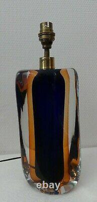 Pied de lampe ancien verre ou Cristal Bicolore Bleu Orange VINTAGE DECO DESIGN