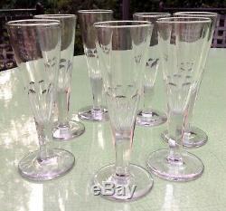 Rare 7 Flutes A Champagne Anciennes St Louis 19 Eme Pied A 7 Pans