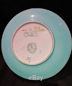 Rare Ancien grand plat faïence émaux longwy decor R. RIZZI chimère rehausse J. M