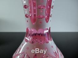 Rare Ancienne Vase En Cristal Overlay D'opaline Taille St Louis Fin XIX