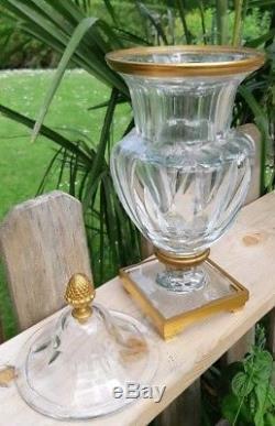 Rare Bonbonnière ou vase ancien en cristal de Baccarat signé et bronze doré
