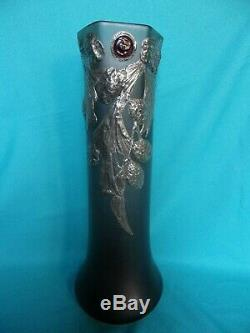 Rare Grand 41 CM Ancien Vase Pate De Verre Souffle Art Nouveau/deco Decor Etain