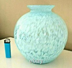 Rare Grand Vase Boule Ancien Verre Souffle Mouchete, Pantin, Clichy, Debut Xxeme