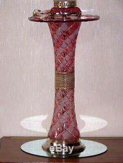 Rare Grande Lampe Ancienne Verre Cristal Pampilles Baccarat 8Kgs sur Colonne