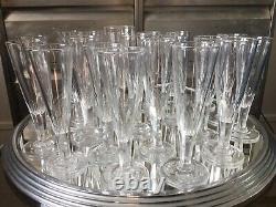 Rare Lot De 24 Flutes À Champagne Ancienne Cristal Soufflé Taillé Empire XIXème