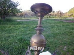 Rare Lustre Ancien en bronze 6 Globes Obus en cristal ou Verre taillé
