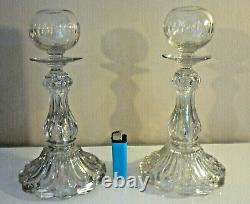 Rare Paire De Grand Bougeoir Boule De Cristal Taille, Ancien Xixemes Baccarat