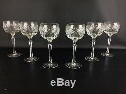 Rare Set 6 verres vin à pied haut style renaissance en cristal Anciens XIXe