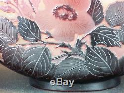 Rare Vase Gourde Ancien Pâte de Verre Eglantines Emile Gallé Art Nouveau No Copy
