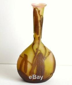 Rare ancien petit vase soliflore signé Gallé Art nouveau Jugendstil 1900