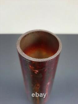 Rare ancien vase conique irisé marmoréen en verre type lithyaline fin XIX ème