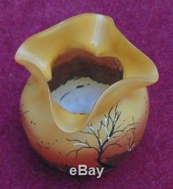 Rare magnifique ancien petit vase a bord ourlée signé LEGRAS excellent état