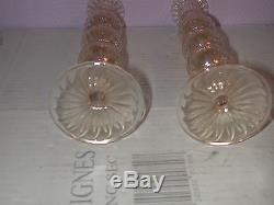 Rare paire de bougeoirs anciens Murano (Venini), verre très fin